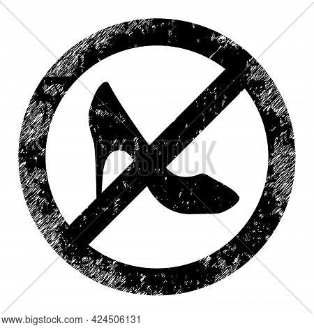 Stop Lady Shoes Icon With Grunge Style. Isolated Vector Stop Lady Shoes Icon Image With Grunge Rubbe
