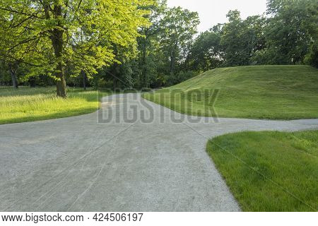 Dawn In The Summer Park. City Park Landscape. Panorama Of A Large City Park With Trees And Sky. Walk