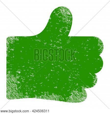 Thumb Like Icon With Scratched Style. Isolated Vector Thumb Like Pictogram With Scratched Rubber Tex