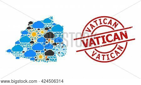 Climate Collage Map Of Vatican, And Textured Red Round Stamp. Geographic Vector Collage Map Of Vatic