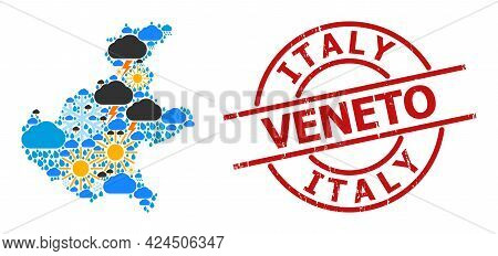 Weather Collage Map Of Veneto Region, And Rubber Red Round Stamp. Geographic Vector Collage Map Of V