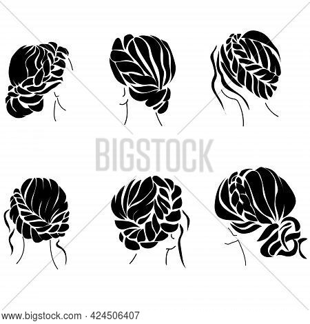 Braided Hairstyle Set Of Silhouettes, Womens Stylish Hairstyles With Curls And Waves Vector Illustra