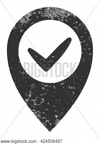 Right Place Icon With Grunge Effect. Isolated Vector Right Place Icon Image With Grunge Rubber Textu