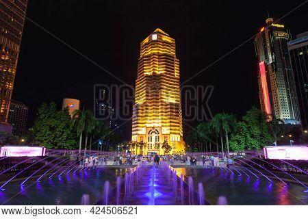Kuala Lumpur, Malaysia - November 28, 2019: Public Bank Building At Night, Street View Of Kuala Lump