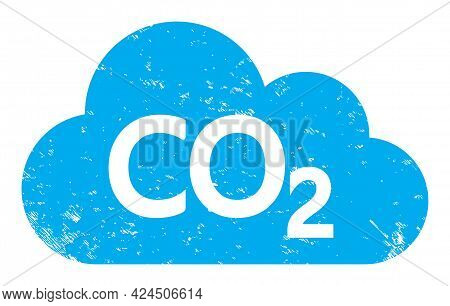Carbon Dioxide Cloud Icon With Scratched Effect. Isolated Vector Carbon Dioxide Cloud Icon Image Wit