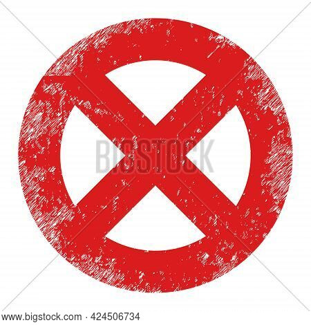 No Entry Icon With Scratched Effect. Isolated Vector No Entry Icon Image With Scratched Rubber Textu