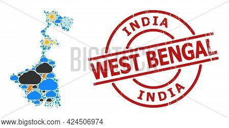 Weather Mosaic Map Of West Bengal State, And Rubber Red Round Stamp Seal. Geographic Vector Mosaic M