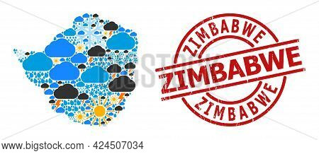 Weather Collage Map Of Zimbabwe, And Scratched Red Round Stamp Seal. Geographic Vector Collage Map O
