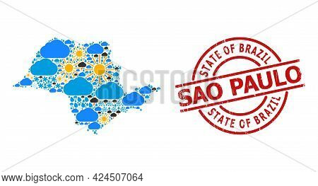 Climate Mosaic Map Of Sao Paulo State, And Scratched Red Round Badge. Geographic Vector Collage Map