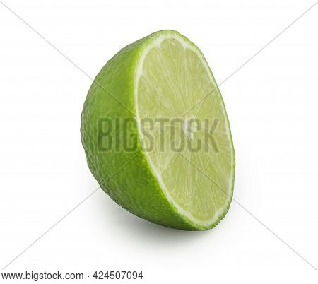 Half Of Lime Isolated On White Background. Citrus Cut In Half
