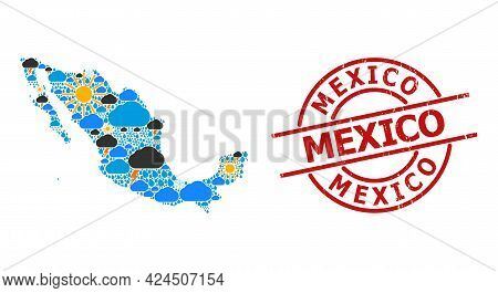 Weather Collage Map Of Mexico, And Distress Red Round Stamp. Geographic Vector Collage Map Of Mexico