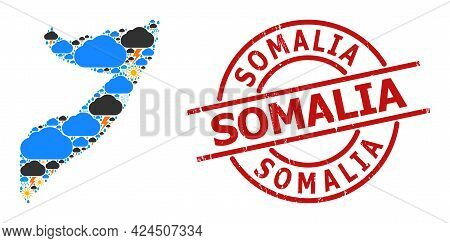 Climate Mosaic Map Of Somalia, And Distress Red Round Badge. Geographic Vector Mosaic Map Of Somalia