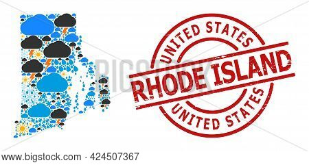 Climate Collage Map Of Rhode Island State, And Grunge Red Round Stamp. Geographic Vector Collage Map