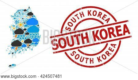Climate Pattern Map Of South Korea, And Textured Red Round Badge. Geographic Vector Collage Map Of S