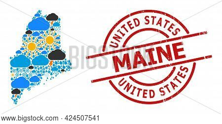 Climate Pattern Map Of Maine State, And Scratched Red Round Stamp Seal. Geographic Vector Compositio