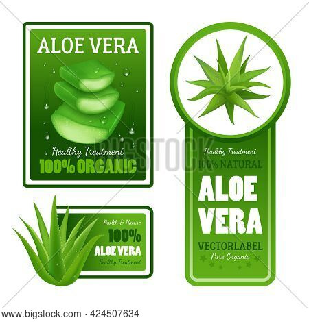 Pure Organic Natural Green Aloe Vera Leaves Healthy Treatment Label Banners With Text Set Isolated R