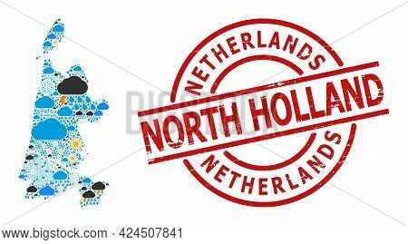Weather Mosaic Map Of North Holland, And Distress Red Round Stamp. Geographic Vector Mosaic Map Of N