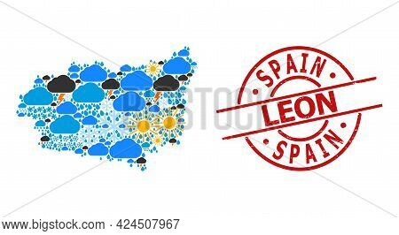 Climate Mosaic Map Of Leon Province, And Scratched Red Round Seal. Geographic Vector Mosaic Map Of L