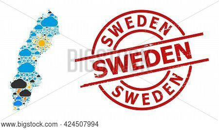 Climate Collage Map Of Sweden, And Distress Red Round Stamp Seal. Geographic Vector Collage Map Of S