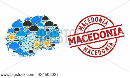 Climate Collage Map Of Macedonia, And Scratched Red Round Stamp Seal. Geographic Vector Collage Map