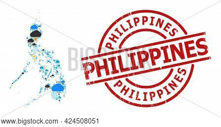 Weather Collage Map Of Philippines, And Rubber Red Round Badge. Geographic Vector Collage Map Of Phi