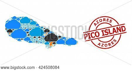 Weather Mosaic Map Of Pico Island, And Grunge Red Round Badge. Geographic Vector Mosaic Map Of Pico