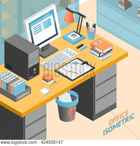 Office Room Work Place Isometric Design Concept With Tools And Storage Space Vector Illustration