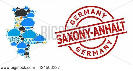 Weather Collage Map Of Saxony-anhalt State, And Grunge Red Round Badge. Geographic Vector Collage Ma