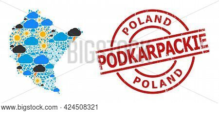 Climate Collage Map Of Podkarpackie Province, And Grunge Red Round Stamp. Geographic Vector Composit