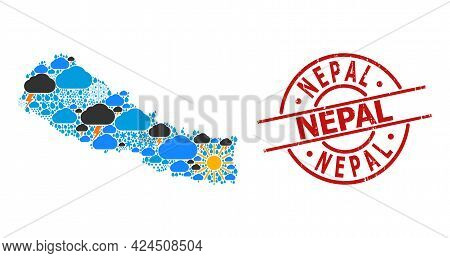 Weather Pattern Map Of Nepal, And Scratched Red Round Badge. Geographic Vector Concept Map Of Nepal