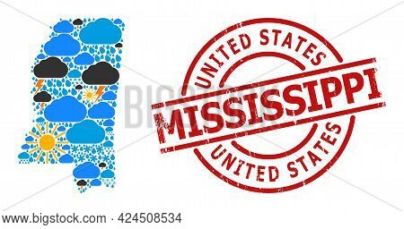 Weather Collage Map Of Mississippi State, And Distress Red Round Stamp. Geographic Vector Collage Ma