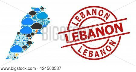 Climate Collage Map Of Lebanon, And Textured Red Round Seal. Geographic Vector Collage Map Of Lebano