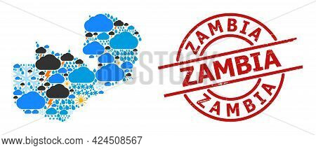 Weather Mosaic Map Of Zambia, And Rubber Red Round Stamp. Geographic Vector Mosaic Map Of Zambia Is