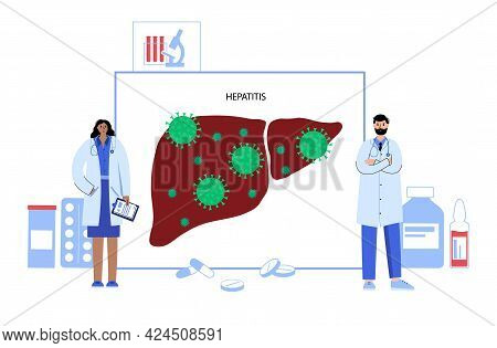 Hepatitis Logo. Liver Inflammation Due To A Viral Infection Concept. Medical Exam In Clinic Or Labor