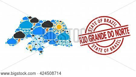 Weather Collage Map Of Rio Grande Do Norte State, And Distress Red Round Stamp. Geographic Vector Co