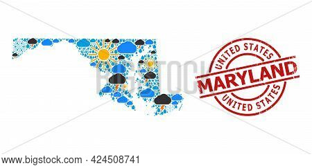 Weather Pattern Map Of Maryland State, And Grunge Red Round Badge. Geographic Vector Composition Map