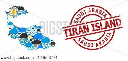 Weather Mosaic Map Of Tiran Island, And Textured Red Round Seal. Geographic Vector Collage Map Of Ti