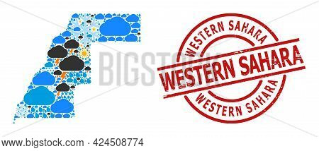 Weather Pattern Map Of Western Sahara, And Rubber Red Round Stamp. Geographic Vector Composition Map