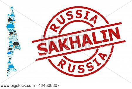 Climate Collage Map Of Sakhalin Island, And Scratched Red Round Stamp. Geographic Vector Composition