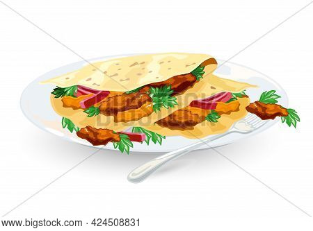 Cartoon Of Taco Mexico Food With Tortilla, Leaves Lettuce, Cheese, Tomato, Forcemeat, Sauce. Vector