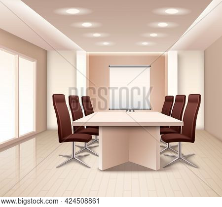 Realistic Meeting Room Interior In Pale Rose Color With Table Brown Office Armchairs And Board Vecto