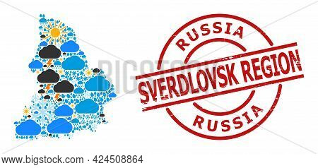 Climate Pattern Map Of Sverdlovsk Region, And Distress Red Round Stamp Seal. Geographic Vector Mosai