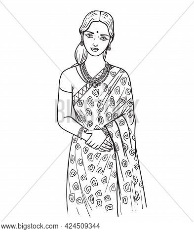 Beautiful Young Girl In Traditional Indian Dress. Vector Illustration In Flat Style On White Backgro