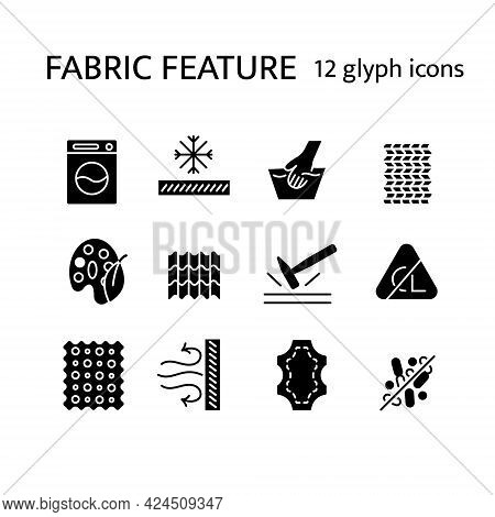 Material Properties Glyph Icons Set. Fiber Diversity. Leather, Snowproof Fiber. Antimicrobial Wear