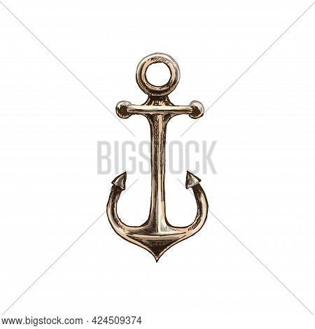 Anchor. Vintage Hatching Color Illustration Isolated On White Background. Hand Drawn Design In A Gra