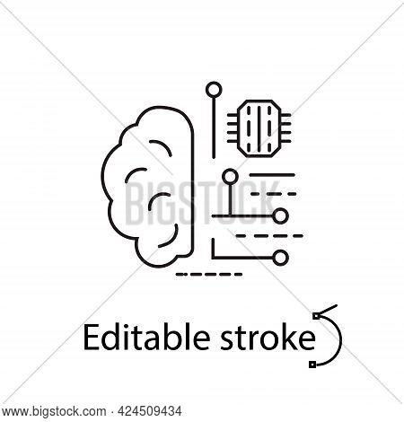 Digital Brain Outline Icon. Microchip In The Brain. Microcircuit In Human Head