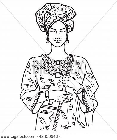 Beautiful Young Girl In Traditional African Dress. Vector Illustration In Flat Style On White Backgr