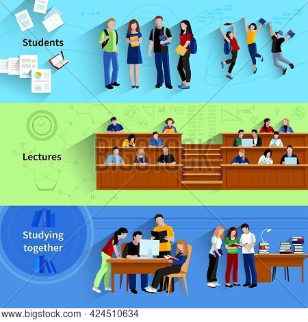 People At University Flat Horizontal Banners With Students Studying Together Sitting In Auditorium A
