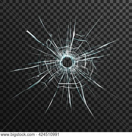 Bullet Hole In Transparent Glass On Abstract Background With Grey And Black Ornament Vector Illustra