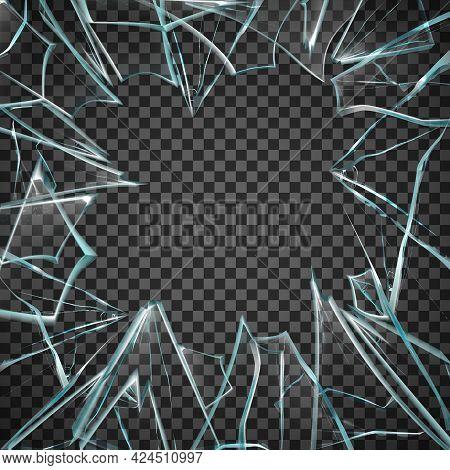 Broken Glass Frame. Broken Glass Transparent. Glass Transparent Frame. Broken Glass Illustration. Gl